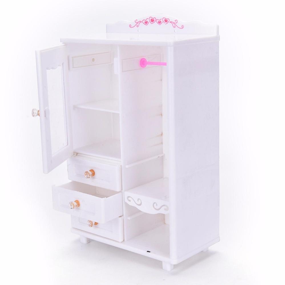 Nhựa Nội Thất Phòng Khách Tủ Quần Áo cho Búp Bê Barbie Nhà Búp Bê Phụ Kiện Đồ Chơi chất...