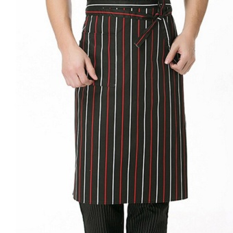 Pop Arrival 67 * 63 Cm Stripe Half Apron With 2 Pockets Chef Waiter Kitchen Cook Fashion Red Black And White Stripes - intl