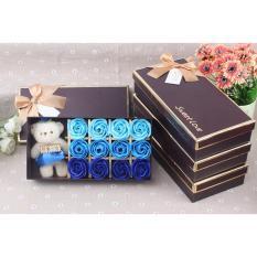 Chỗ bán Quà tặng 12 bông hoa hồng sáp thơm kèm gấu
