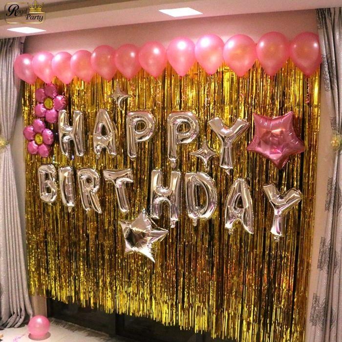 Rèm tua rua trang trí sinh nhật, kỉ niệm (màu vàng và màu bạc)