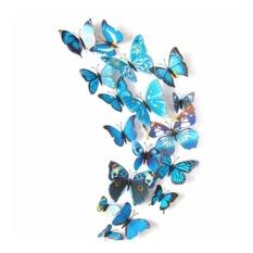 Set 12 bướm 3D trang trí tủ lạnh hoặc dán tường – Xanh Đen