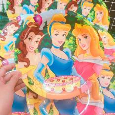 Set 12 dĩa giấy , đĩa giấy hình tròn size lớn cho các buổi tiệc hình các nàng công chúa Disney Princess dành cho các bé – 40PNCDT10 (23x23cm)