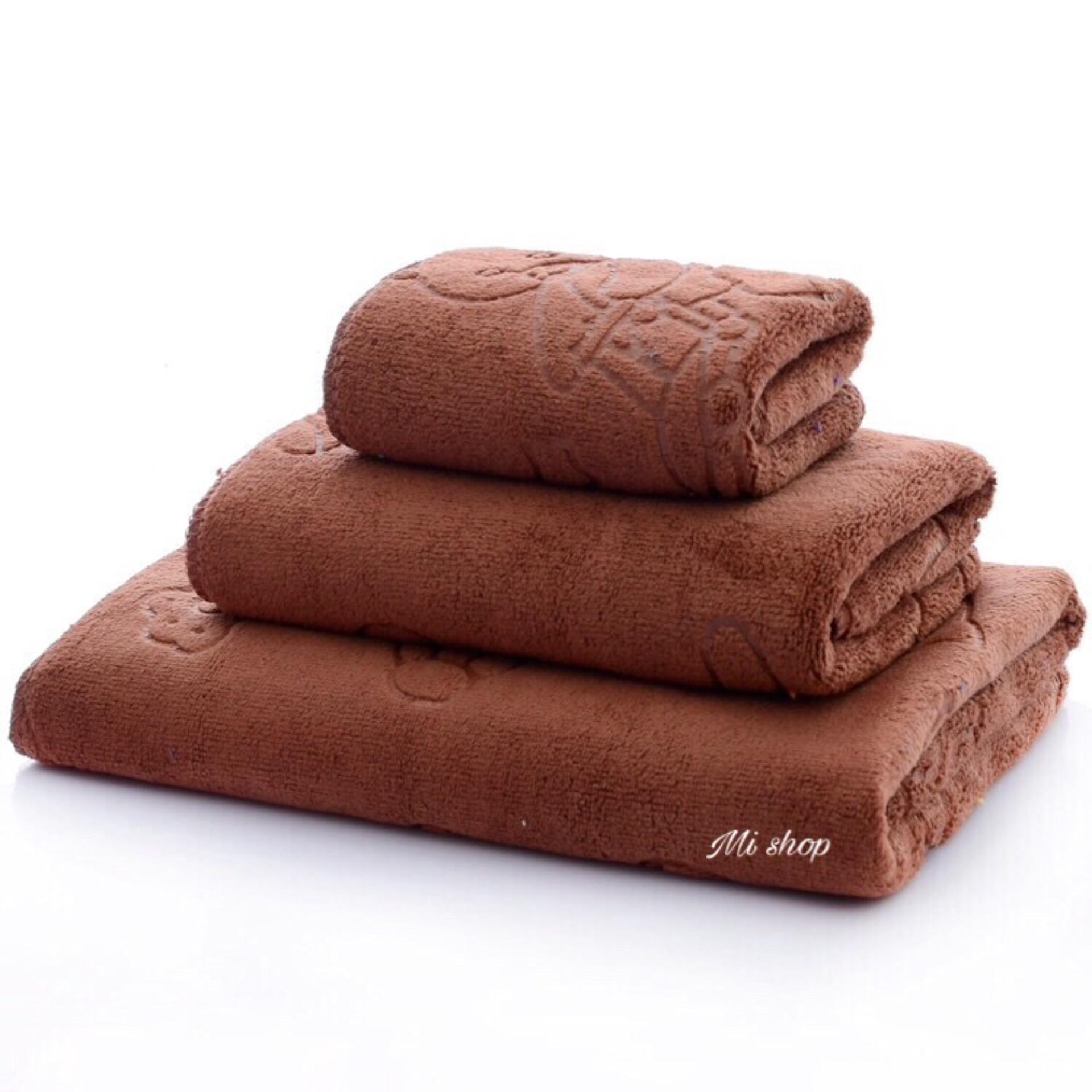 Set 3 khăn rửa mặt,gội,tắm Thái(nâu trơn)-to 70*140cm
