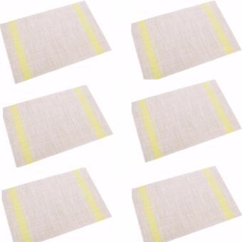 SET 6 Tấm trải bàn ăn màu vàng họa tiết sọc ngang