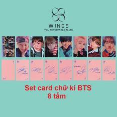 Set 8 card chữ kí BTS in (Hồng)