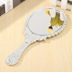 Bạc Vintage Repousse Hình Bầu Dục Tròn Trang Điểm Cầm tay Vanity Mirror Công Chúa Nữ-quốc tế