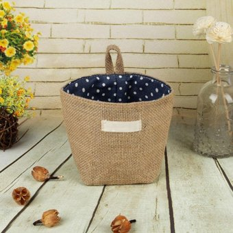 Storage Box Jute Cotton Sundries Basket Mini Desktop Storage Bagstyle:Blue Dot - intl