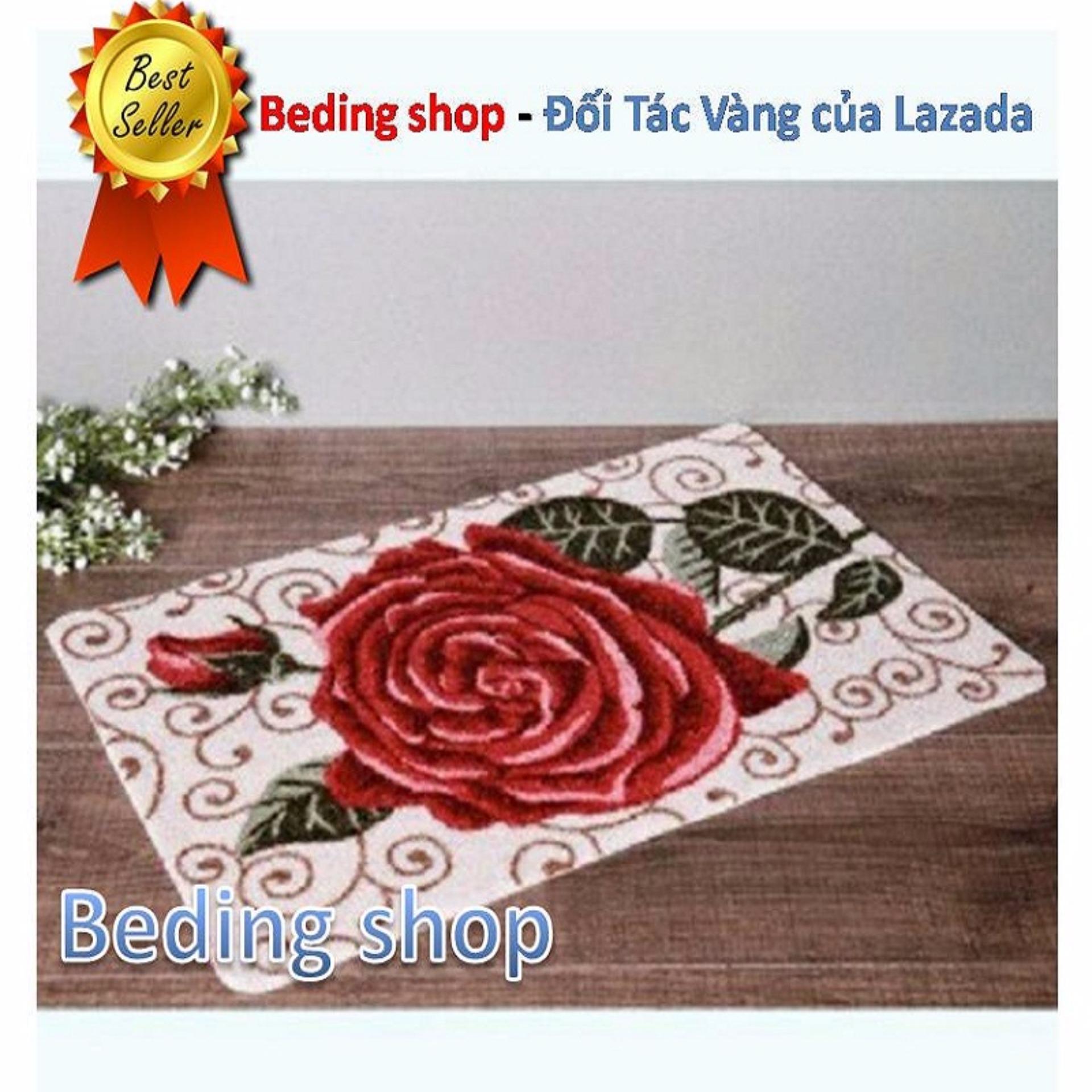 Thảm Lau Chân Hoa Hồng – Chất Liệu Sợi Len cao cấp 40x60cm