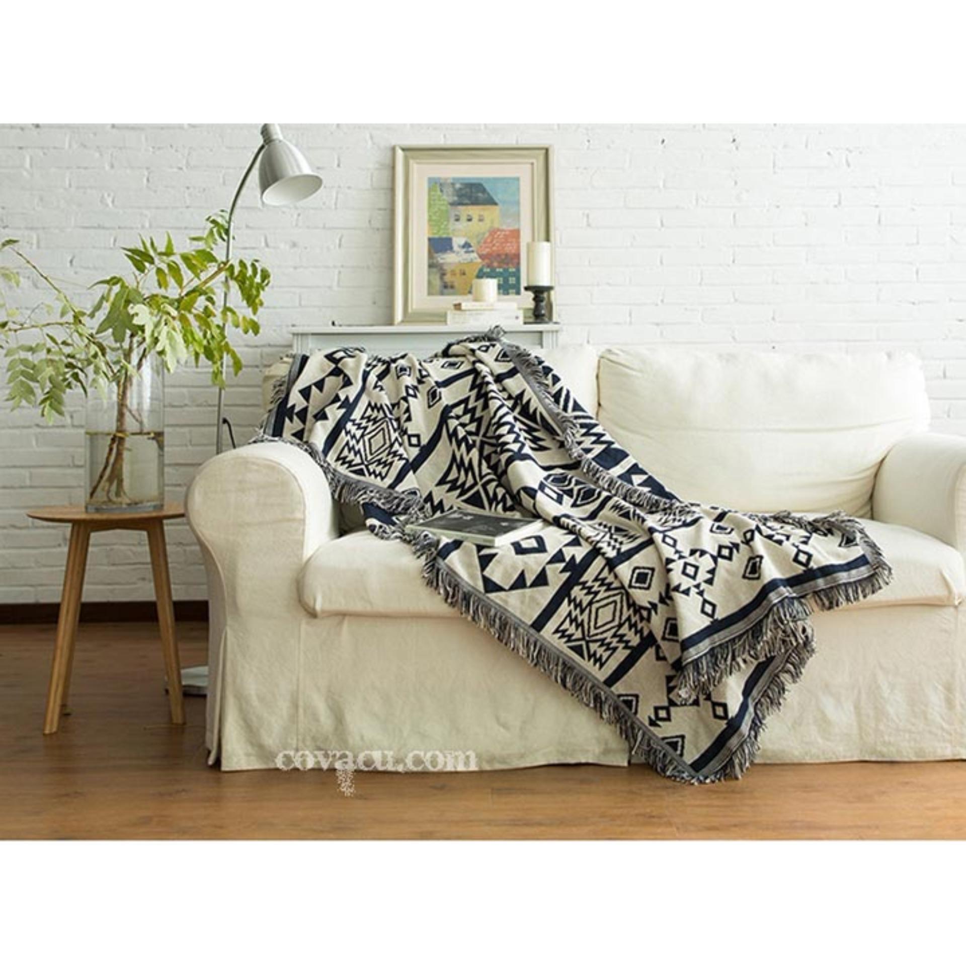 Nơi mua Thảm Vintage Trang Trí Vải Cotton Cao Cấp Nhập Khẩu HT-8 Bohemian Trắng Xanh Đậm