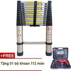 Thang rút nhôm Kawachi 3.8m + Tặng bộ khoan DIY 112 món