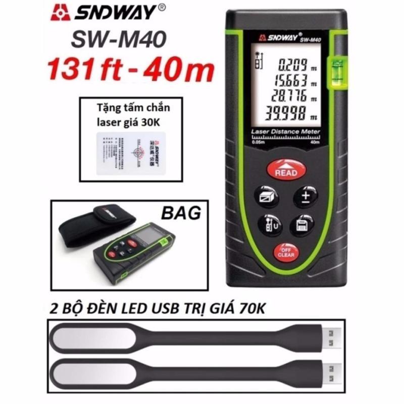 Thước đo khoảng cách bằng tia laser SNDWAY SW-M40 phạm vi đo 40M Tặng 2 đèn led USB