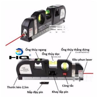 Thước ni vô laser đa năng cân bằng kèm thước kéo 2,5m HQ 4TI18