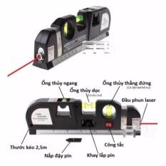 Thước Nivo laser LV 03 cân mực laser đa năng cân bằng kèm thước kéo 2,5m + Tặng 1 Khăn lau đa năng K 275