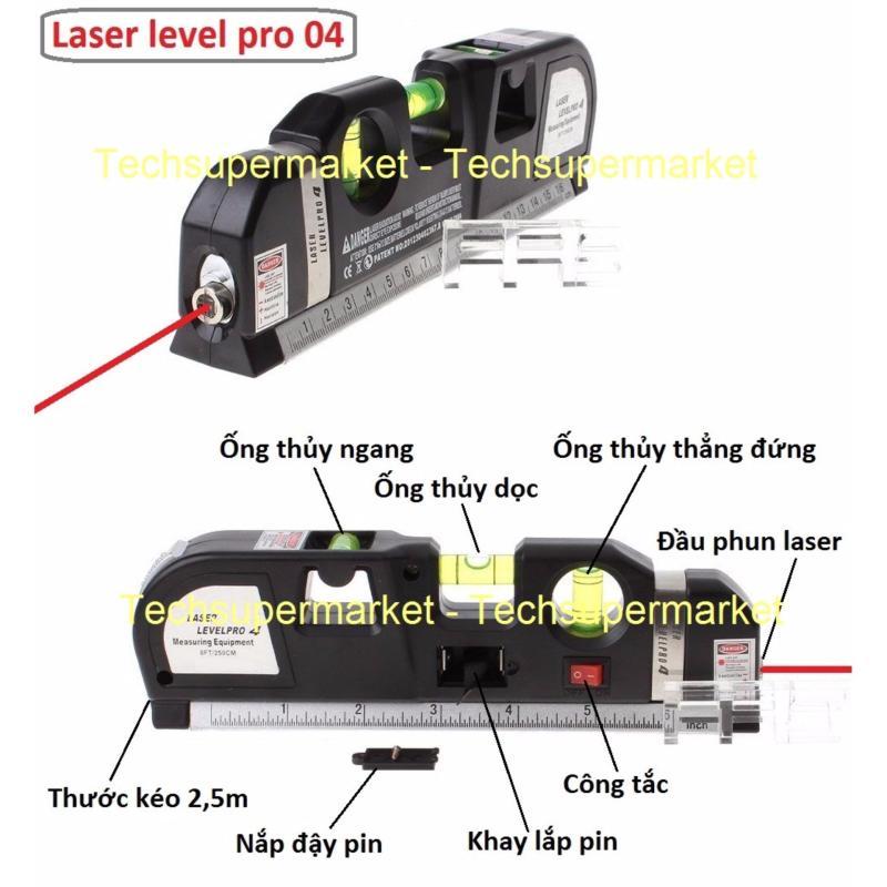 Thước Nivo laser LV-04 cân mực laser đa năng cân bằng kèm thước kéo 2,5m