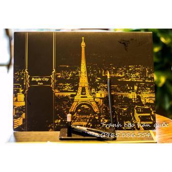 Tranh Cạo cảnh đêm Paris khổ A3 tặng kèm bút cạo cao cấp - 2