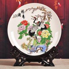 Tranh đĩa gốm sứ hình hạc rất đẹp, trang trí nhà cửa DTT002