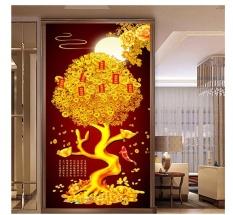 Tranh thêu chữ thập cây tiền phú quý FJ0711-Siêu thị tranh thêu