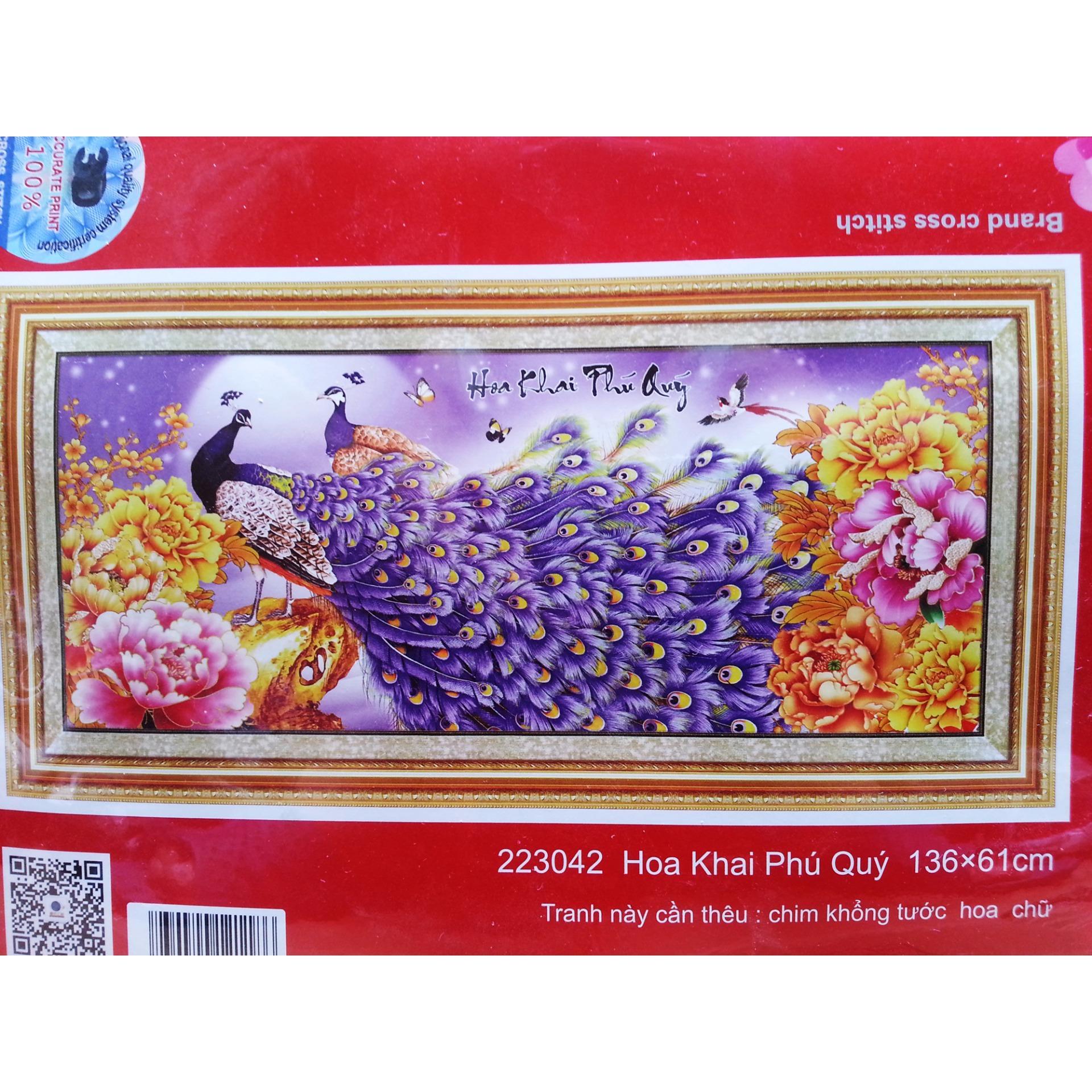 Tranh thêu chữ thập hoa khai phú quý 223042