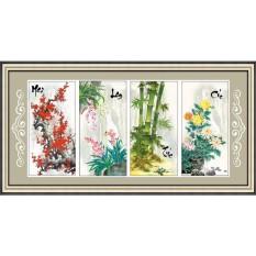 Tranh thêu chữ thập Tứ quý Mai Lan Trúc Cúc DLH-222975-Siêu thị tranh thêu