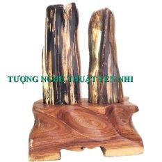 Trụ gỗ hóa thạch phu thê 28cm-2,8kg
