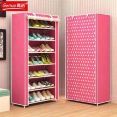 Tủ đựng giày dép 7 tầng bọc vải cao cấp (Hồng) – Kmart