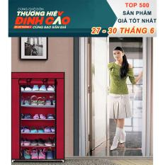 Tư vấn mua Tủ giày dép 7 tầng 6 ngăn bọc vải cao cấp (Đỏ đô)