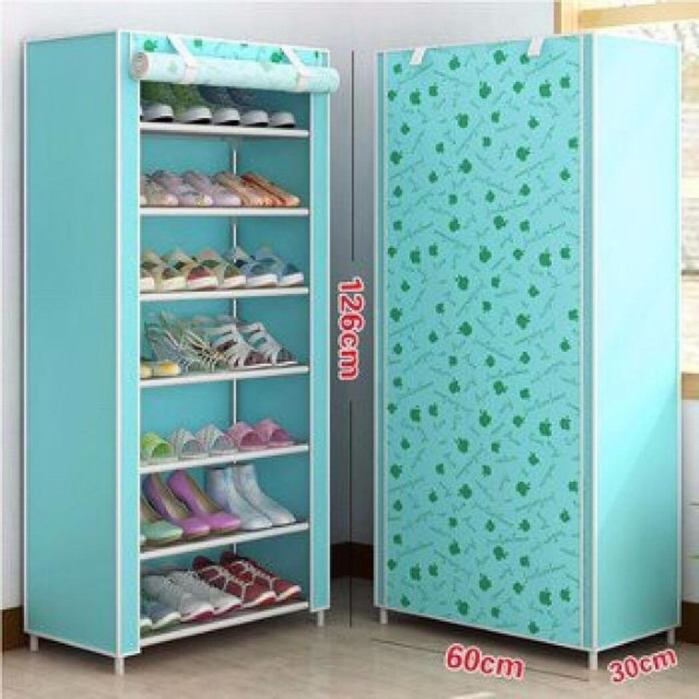 Tủ giày dép 7 tầng bọc vải tiện dụng (Xanh) – Kmart