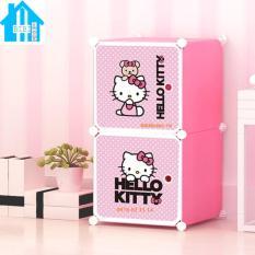 Tủ nhựa lắp ghép 2 ngăn kitty hồng phấn (Hồng)