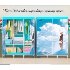 Tủ quần áo 3D 3 buồng 8 ngăn cao cấp (Xanh)