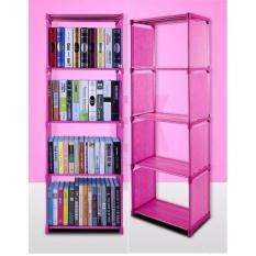 Tủ sách 4 tầng lắp ghép đa năng ( màu hồng)