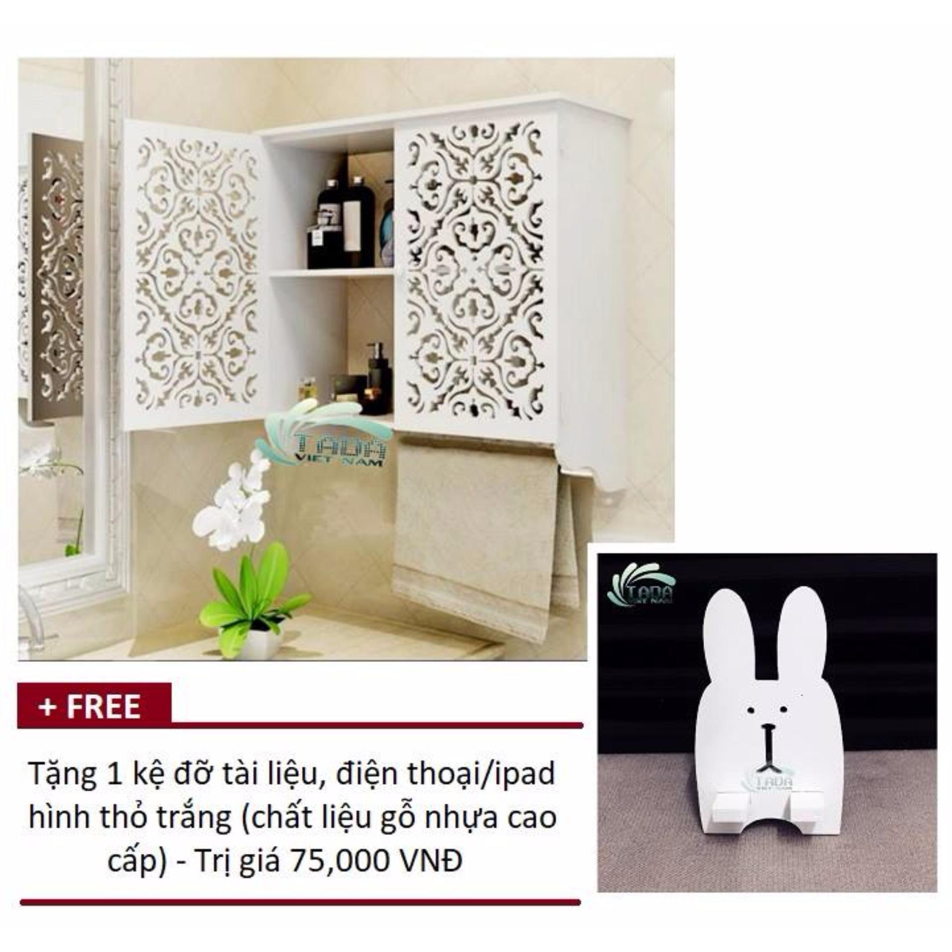 Tủ trang trí treo tường hoa văn cổ điển TADA TD117 – Tặng 1 kệ đỡ tài liệu, iphone/ipad hình thỏ trắng