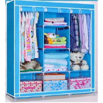 Tủ Vải 3 Buồng 8 Ngăn Cao Cấp(Blue) ANHDUY STORE