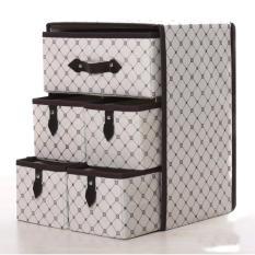 Tủ vải 3 tầng 5 ngăn, đựng đồ Phong cách (Trắng Caro)