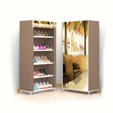Tủ vải để giày dép họa tiết 3D 5 tầng cao cấp (Nâu) – Kmart
