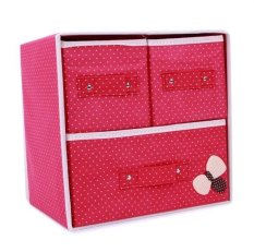 Tủ vải đựng đồ 2 tầng 3 ngăn đỏ chấm bi HD HDM272