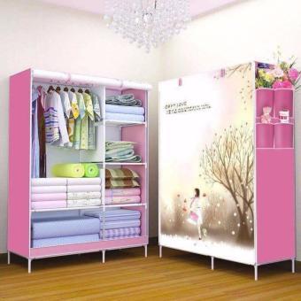 tủ vải đựng quần áo 3D hồng