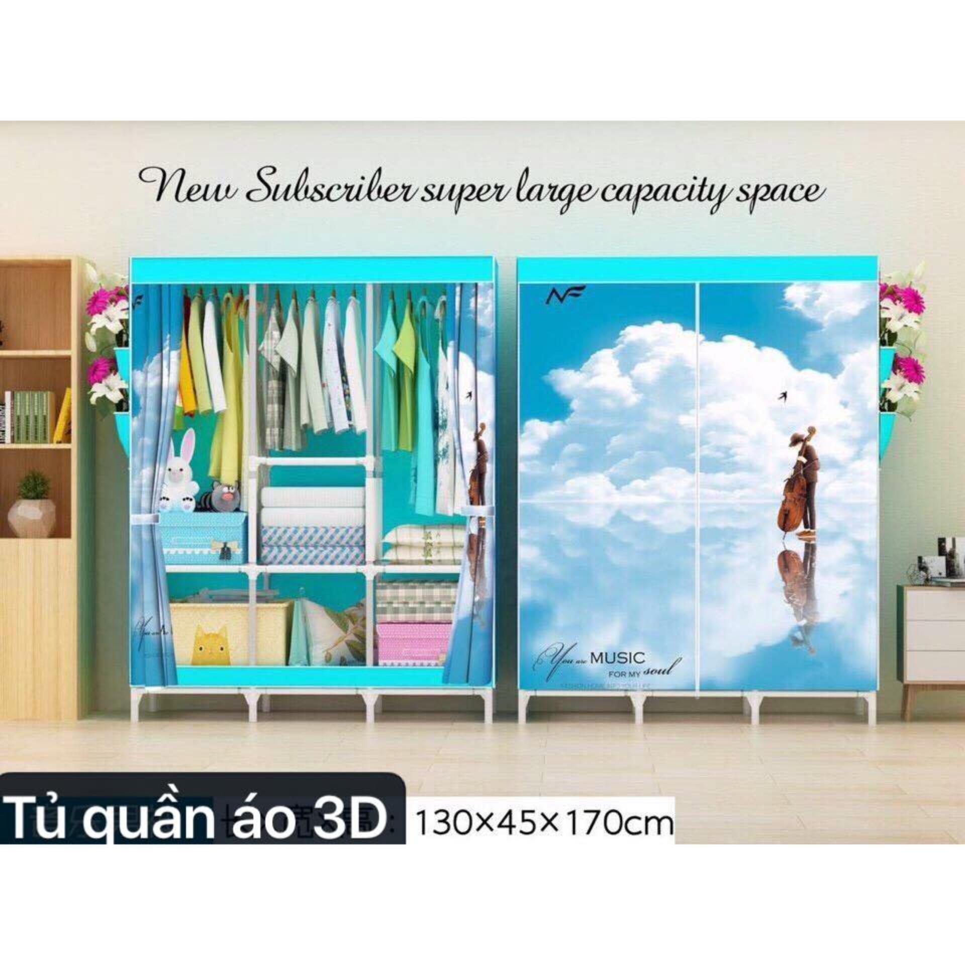 Tủ Vải Đựng Quần Áo 3D Siêu Bền (Xanh) - Kmart