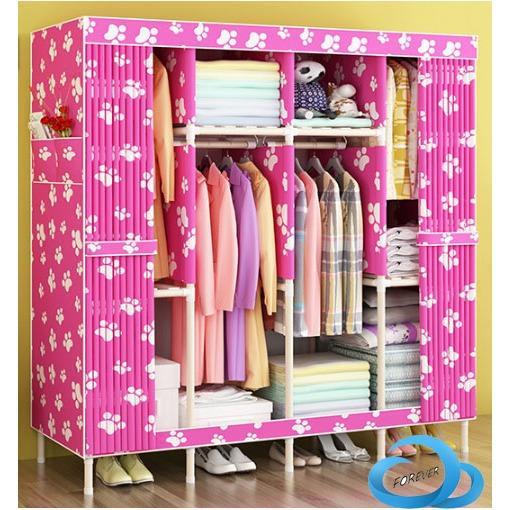 tủ vải khung gỗ 4 buồng cao cấp màu hồng