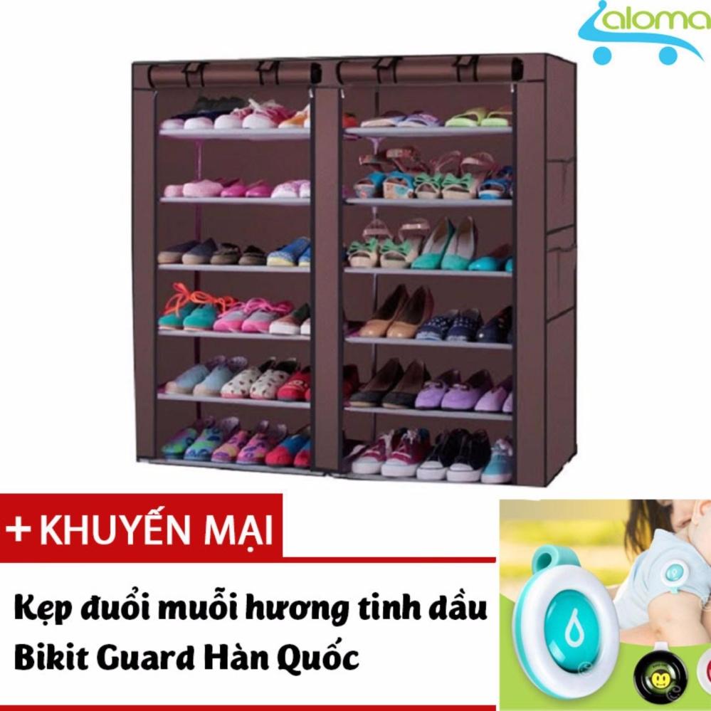 Giá KM Tủ vải khung inox 6 tầng 12 ngăn để quần áo giày dép sách vở HomeBi HB-612 tặng kẹp đuổi muỗi