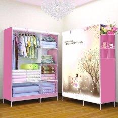 Tủ vải quần áo cao cấp kiểu dáng 3D (hồng)