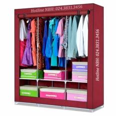 Tủ vải quần áo cỡ đại 3 buồng 8 ngăn (màu ngẫu nhiên)
