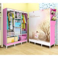 Tủ vải quần áo hình 3D cao cấp 3 buồng 8 ngăn