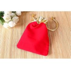 Túi Bao Lì Xì Dây Rút Nhung Đỏ Size 9x12cm