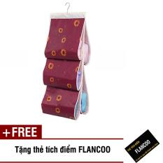 Túi vải treo 5 ngăn đựng túi xách Flancoo S0921 (Nâu đỏ) + Tặng kèm thẻ tích điểm Flancoo
