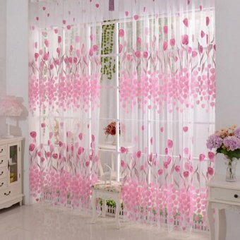 Tulip Printed Tulle Window Curtain Pink (Intl)