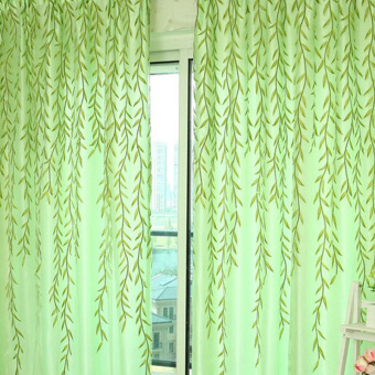 VAKIND Chic Room Willow Pattern Voile Window Curtain (Green) - intl