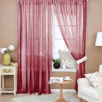 VAKIND Valances Floral Tulle Door Window Curtain - intl