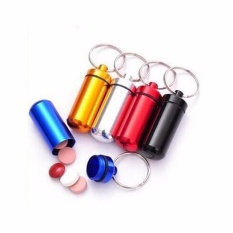 Viên con nhộng bằng nhôm chống nước dùng để đựng thuốc, treo móc khóa – giao màu ngẫu nhiên