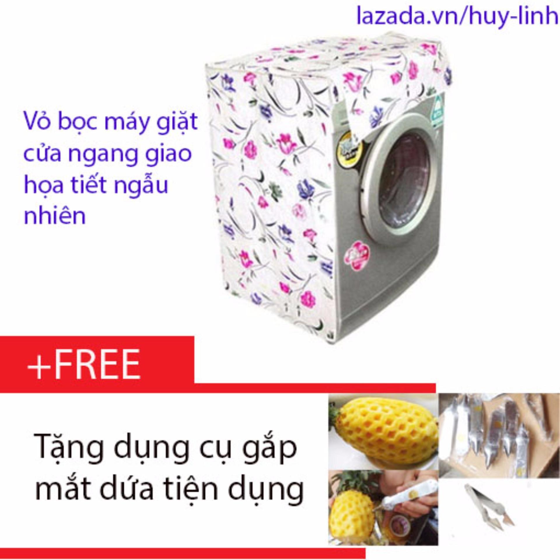 Báo Giá Vỏ bọc máy giặt cửa đứng cỡ nhỏ màu sắc ngẫu nhiên cho máy giặt giao họa tiết ngẫu nhiên + Tặng dụng cụ gắp mắt dứa