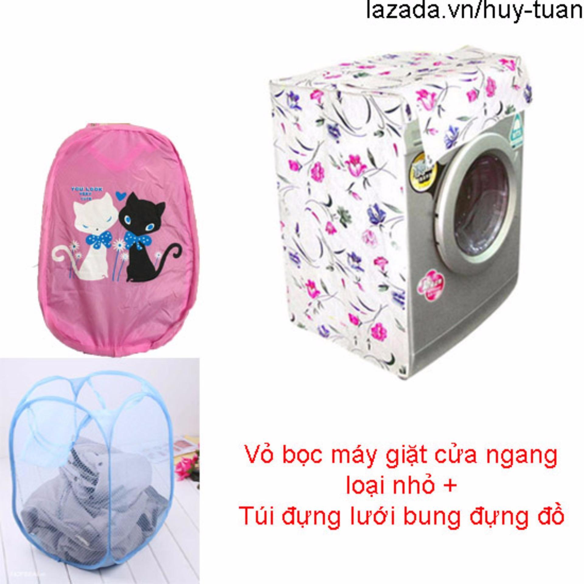 Vỏ bọc máy giặt cửa ngang cỡ nhỏ ( màu ngẫu nhiên ) + túi lưới bung ( Hồng )